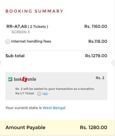 BookMyShow Convenience Fee
